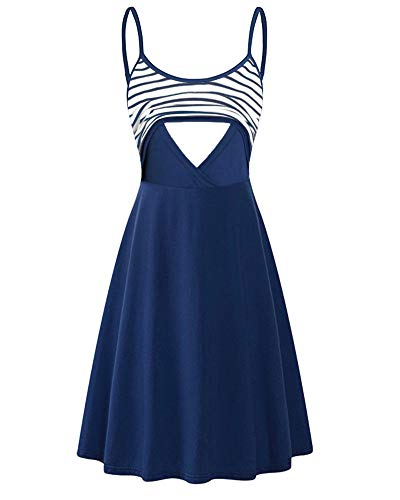 Larenba Nursing Clothes for Breastfeeding, Short Sleeve Maternity Dress Feeding Flattering Cotton Blend Trapeze Double Layered Tops Pregnancy Nursing Outfits for Women(Blue,Large)