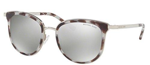 Michael Kors Women's Adrianna I MK1010 Snow Leopard/Silver Tone/Silver Mirror - Kors Sunglasses Leopard Michael