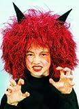 Perücke: Teufel-Perücke, rot, schwarze Hörner, Kindergröße