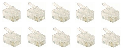 RJ9 Modular Plug (4/4, Telephone Handset Cord Connector) 4P4C, Pack of 10 (Telephone Connector)
