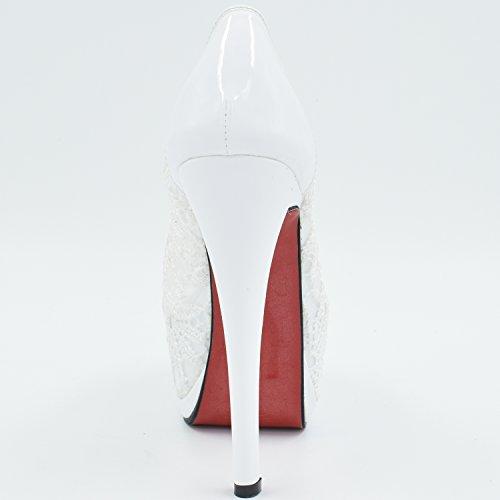 Oasap Mujer Zapatos Tacón Alto de Plataforma Punta-Abierta con Encaje Blanco