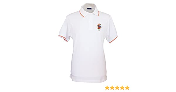 Pi2010 - Polo Bordado Casa Real Felipe Vi para Hombre/Blanco/Talla S/Bandera de España en Cuello y Mangas / 100% algodón: Amazon.es: Ropa y accesorios