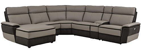 Left 6 Piece Living Room (Homelegance Laertes 6 Piece Power Reclining Sectional Sofa with Left Side Chaise and Cup Holder Console Top Grain Leather Fabric Matched, Gray)
