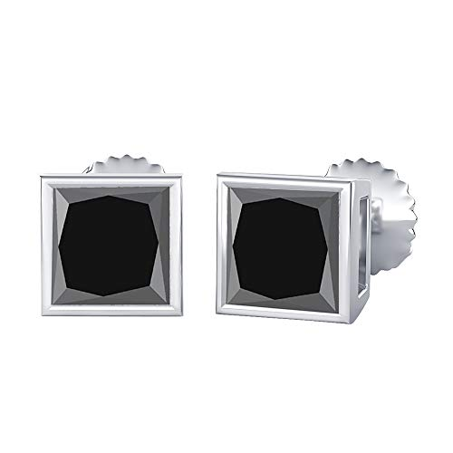 (Bezal Set Princess Cut Created White Diamond (8MM) Solitaire Stud Earrings 14K White Gold Over .925 Sterling Silver)