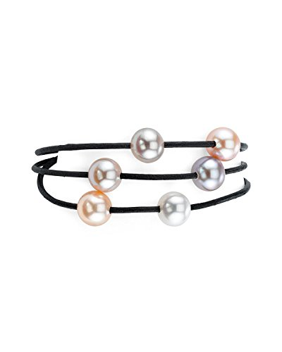 THE PEARL SOURCE 8-9mm Genuine Multicolor Freshwater Cultured Pearl Triple Strand Leather Bracelet for ()