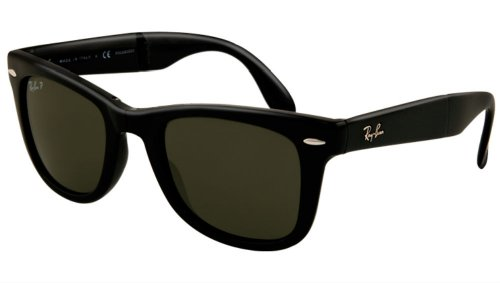 Ray Ban Folding Wayfarer RB4105 601/58 Black/Polarized Gray 54mm Sunglasses