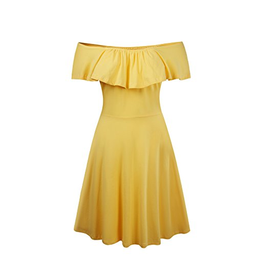 Dress Yellow Sexy (HIKA Women's Summer Casual Flounced Off Shoulder Flared Midi Dress (X-Large,)