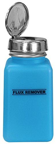 MENDA 35594 One Touch Stainless Steel Liquid Dispenser Pump, ESD Safe durAstatic Bottle, Printed Flux Remover, 6 oz, High Density Polyethylene/Stainless Steel, Blue (Menda Pump)