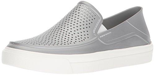 Crocs Women's Citilane Roka Metallic SLP W Sneaker, Silver/Metallic, 7 M (Metallic Croc)