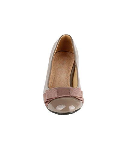 KRISP Zapatos Mujer Charol Bailarinas Lazo Tacón Bajo Negros Rosa Nude Verde Caqui
