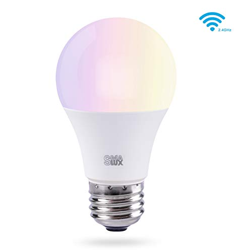 Smart LED Light Bulb, Smalux A19 E26 WiFi Warm White and RGB Color Tunable Dimmable Smart Home Bulb, 800 Lumens 75W Equivalent LED Bulb with Timer Function,Voice Control with Alexa/Google Home/IFTTT