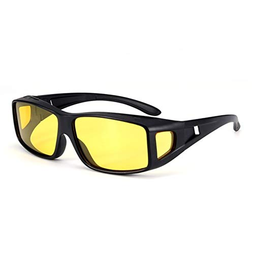 Wcxxhy Night Vision Driving Glasses Anti-Glare HD Polarized Eyewear with Yellow Lens - Black - 2 Pcs (Color : Frosted Black)