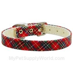 Mirage Pet Products 3/8-Inch Plaid Plain Dog Collar, Size 12, Red