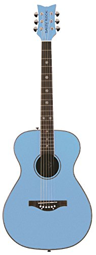 Daisy Rock Pixie Acoustic Guitar, Sky Blue Butterfly Rock Guitar