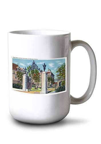 Lantern Press Chicago, Illinois - University of Chicago; View of The Hull Court (15oz White Ceramic Mug)
