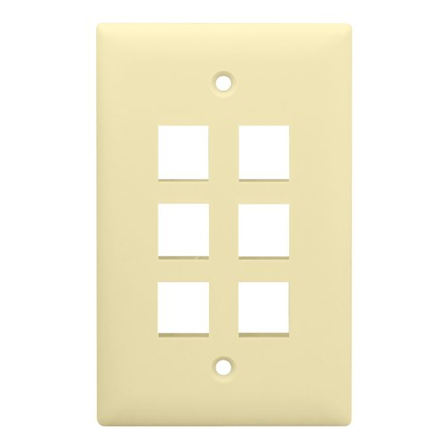 (Legrand - On-Q Single Gang Wall Plate, 6-Port, Light Almond)