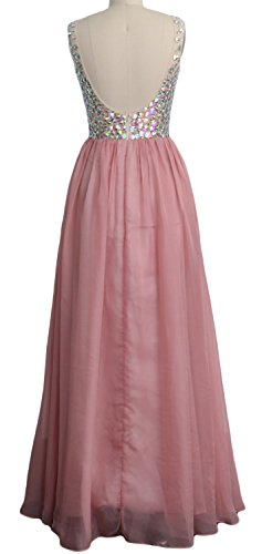 MACloth Women V Neck Crystal Long Prom Dress Cocktail Evening Party Gown Rosa