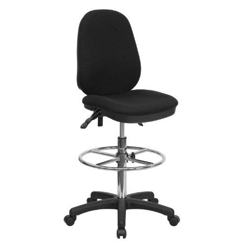 ERGONOMIC HOME Black Multifunction Ergonomic Drafting Chair with Adjustable Foot Ring
