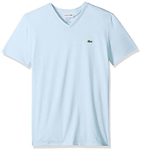 Lacoste Men's Short Sleeve V-Neck Pima Cotton Jersey T-Shirt, Rill Light Blue, - 100% Cotton T-shirt Pima