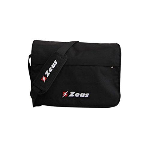 Zeus Herren Sporttasche Schultertasche Handtasche Fußball Umhängetasche Schwarz BORSA MISTER 40X30X11 cm