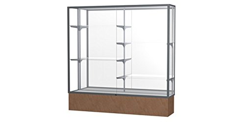 (Monarch Series Floor Display Case Case Backing: Mirror, Base Color: Beige Stone, Frame Color: Satin )