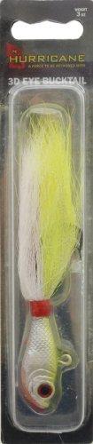 Hurricane 3D Eye Bucktail Jig (Chartreuse/White, 1/2 oz.), Outdoor Stuffs