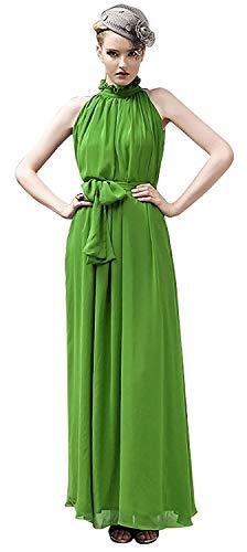 VSVO Women Halter Neck Sleeveless Chiffon Maxi Dresses (Small, Light Green)