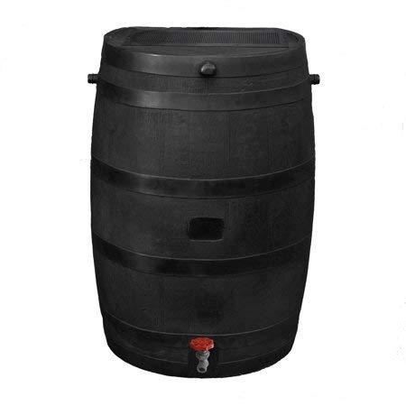 RTS Home Accents Flat Back Eco Rain Barrel, Black