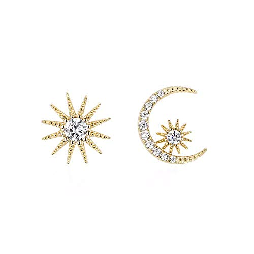 Q﹠YFH Sun Moon and Star Stud Earrings for Women Asymmetric Studs Earrings Jewelry Gift (C-Gold)