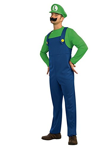 Super Plumber Brother Adult Costume Halloween (Large, Green)