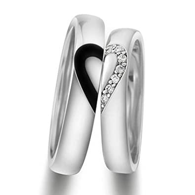 Personalized Engravable Half Heart Men and Women Wedding Rings Set