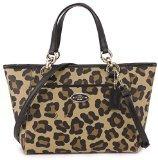 Canvas Baguette Handbag (Coach 35024 Coated Canvas Ocelot Print Mini Ellis Tote Li/tan)