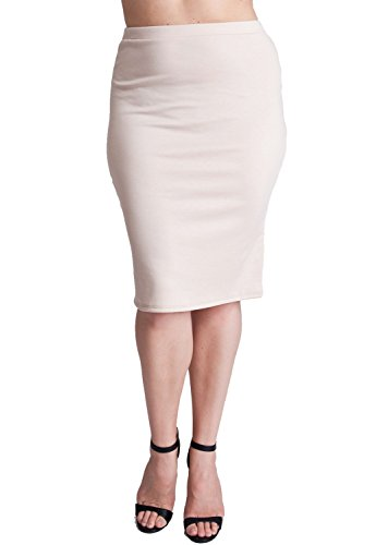 Woman Beige Plus Size Banded Waistline Pencil Skirt