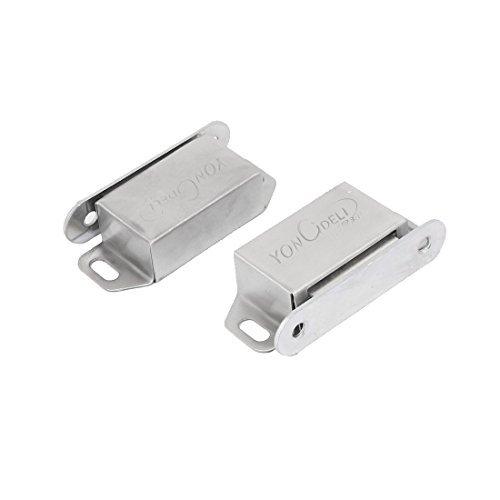 eDealMax Armario Armario metálico cierre magnético seguros de las puertas tono Plata 55mm x 25mm 2pcs