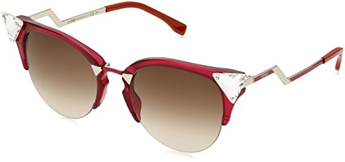 Fendi Women's Crystal Corner Sunglasses, Cherry Red/Brown Gradient, One - Fendi Sunglass