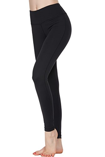 Oalka Women Power Flex Yoga Pants Workout Running Leggings Black XL -