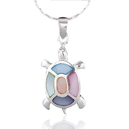 Chuvora 925 Sterling Silver Multi-Colored Mother of Pearl Shell Sea Turtle Pendant Necklace, 18 inches ()
