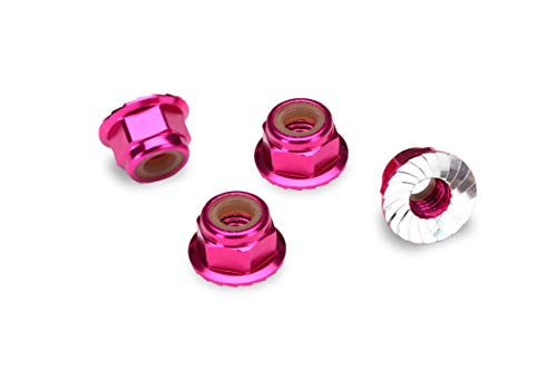 Traxxas 1747P-Anodized Aluminum Flanged & Serrated Lock Nuts (Set of 4), Pink