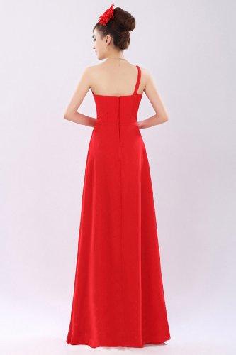 Beauté Emily En Mousseline De Soie Élégante Femmes Une Robe De Soirée Longue Robe Rouge Épaule
