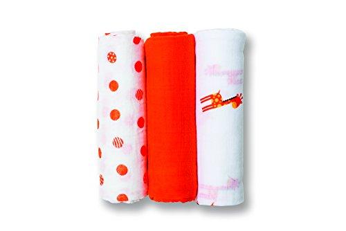 Giraffe Polka Dot Blankets - lulujo Baby 3 Piece Mini Muslin Cloths, My Giraffe