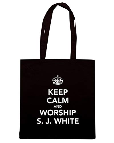 Speed Shirt Borsa Shopper Nera TKC1898 KEEP CALM AND WORSHIP S.J. WHITE
