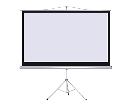 "100"" Manual Pull-Down Projector Screen With Tripod 16:9 Aspect Ratio Projection Portable Matte White Screen Fabric Home Theater Business Or Classroom Use Screen Height Adjustable"