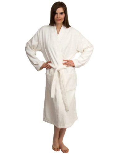 TowelSelections Women's Robe Turkish Cotton Terry Kimono Bathrobe Small/Medium Ivory