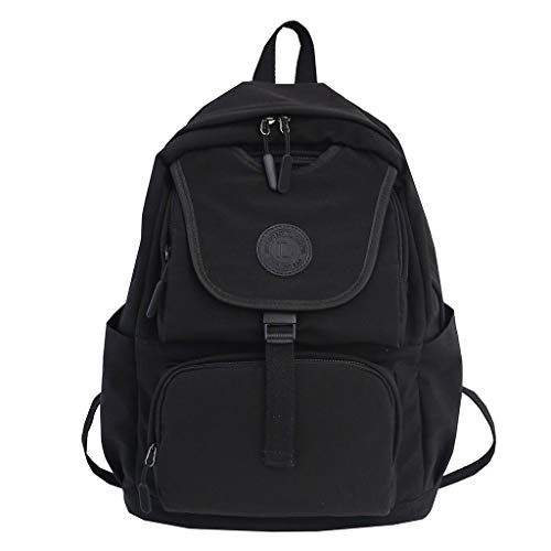Solid Color Lightweight Backpack for School, Zlolia Classic Basic Water Resistant Casual Daypack for Travel with Bottle Side Pockets (Best Place To Sell Mac)