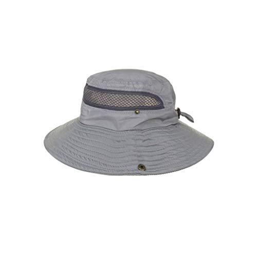 CCSDR Unisex Bucket Hat Summer Mesh Drying Fishing Cap Anti-UV Sunscreen Outdoors Cap Adjustable Chin Strap Gray