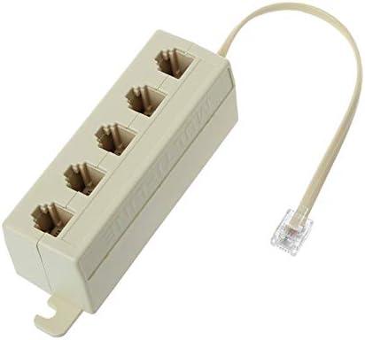 RJ11 5 Way Outlet Phone Modular Jack Telephone Line Adapter Splitter Connector
