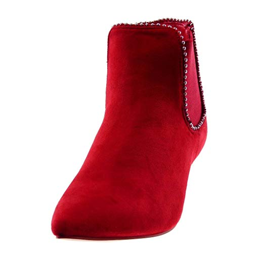 Boots Boots Boots on Women's Chelsea Angkorly Shoes Pearl cm Kitten 5 Ankle Low Red Booty Elastic Studded Slip Heel Fashion 1z1w0qI