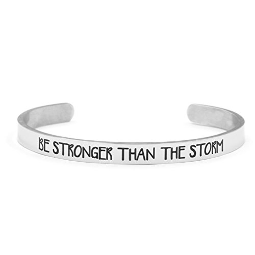 Yiyang Cuff Bracelet Silver Be Stronger Than The Storm Inspritional Bangle for Women