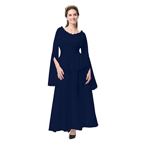 (Victorian Dresses-Womens Vintage Celtic Medieval Dress Costume Gown Cosplay Costumes Skater Split Sleeve Long Dress Navy)