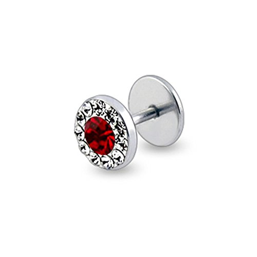 Red Gemstone Colorful Multi Crystal Stone Top 16 Gauge Surgical Steel Fake Ear Plugs Gauge Earring